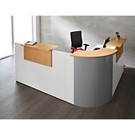 Winkeltheke Come-In, rund, 3 Ablagen, Breite 1600 mm, Eckelement silber, weiß/Buche-Dekor