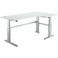 Winkeltisch, Ansatz rechts, lichtgrau/weißalu