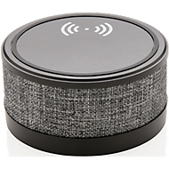 Wireless Charger mit Bluetooth Lautsprecher, Qi-kompatibel, 5/3 W, Stoffbezug, Werbedruck 5-farbig 50 x 25 mm