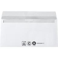 Witte enveloppen, 110 x 220 mm (DL), 80 g/m², met lijmsluiting, gerecycled papier, zonder venster, 1000 stuks