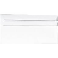 Witte Enveloppen, 110 x 220 mm (DL), met venster links, zelfklevend, 1000 stuks