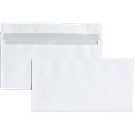 Witte enveloppen, 110 x 220 mm (DL) zonder venster, zelfklevend, pak van 25  stuks
