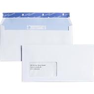 Witte enveloppen, C6, zelfklevend, met venster links , 500 stuks