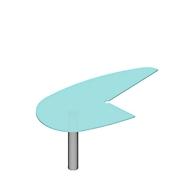 X-TIME-WORK aanbouwtafel, met ronde boog rechts, glas, B 960 x D 1850 x H 740 mm, glas/alu