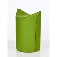 Zipfel poef WERTHER, wolvilt, moeilijk ontvlambaar, zithoogte 500 mm, greeplus, groen