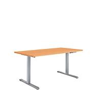 Zit-/stawerkplek met zwengel Multiflex, in hoogte verstelbaar, B 1200 mm, beukenpatroon/blank aluminium