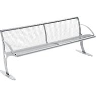 Zitbank Mainz, staal, 4 plaatsen, zitvlak en leuning gaaswand, gepoedercoat, blank aluminium