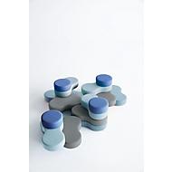 Zitsysteem TAPA Round I, stof, modulair, met draaimechanisme, B 800 x H 620 mm, grijs/blauw