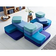 Zitsysteem TAPA Square, stof, modulair, met draaimechanisme, B 900 x D 900 x H 620 mm, blauw/blauw