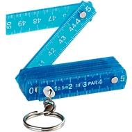 Zollstock Schlüsselanhänger, 50 cm, Kunststoff, blau