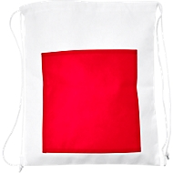 Zugbeutel SIMPLY, Non-Woven Vliesgewebe, inkl. Werbedruck 1-farbig 150 x 150 mm, Fronttasche in rot, Set mit 100 Stück