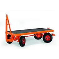 Zwaarlast-aanhangwagen, 4-wielen-stuurpenbesturing, volrubberen banden, draagvermogen 5000 kg, 3000 x 1500 mm