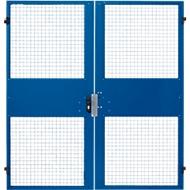 Zweiflügeltüren, für Gittertrennwandsystem, B 2000 x H 2070 mm, blau
