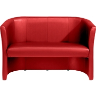 Zweisitzer Club, Lederoptik, rot