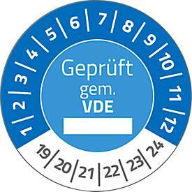 "AVERY® Zweckform Prüfplaketten ""Geprüft gem. VDE"", 2019-2024, Ø30, abziehsichere Folie, blau"