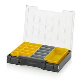 Einsatzkasten Sortimentskasten Set, verschiedene Rastergrößen, Kunststoff, gelb/grau