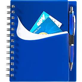 Notizbuch Dymas, spiralgebunden, 70 Blatt liniert, mit Einstecktaschen, blau