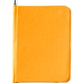 Notizbuch mit Gummiverschluss und Bleistift, 66 Blatt blanko, gelb