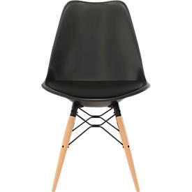 Schalenstuhl DOGEWOOD, Kunststoff, mit Holzbeinen, Sitzkissen, 2Stk. schwarz