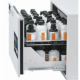 Image of 2. Auszugsebene für asecos Sicherheitsschränke der UB90 Serie, Stahlblech, lichtgrau, B 446 x T 370 x H 45 mm, 2,5 l, bis 25 kg
