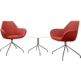 2 Besucherstühle KONSIT, rot + 1 Beistelltisch KONSIT