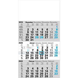 3-Monats-Kalender, 300 x 590 mm, 12 Blatt Monatszählung, 4-sprachig, Datumsschieber + Sonn-/Feiertage blau