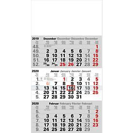 3-Monats-Kalender, 300 x 590 mm, 12 Blatt Monatszählung, 4-sprachig, Datumsschieber + Sonn-/Feiertage rot