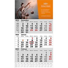 3-Monats-Wandkalender, inkl. 4c-Digitaldruck, Jahreskalendarium auf Fußleiste