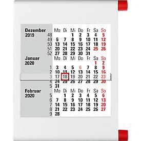 3-Monats-Wandkalender, weiß/rot