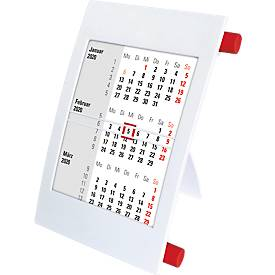 3-Monatskalender, mit 2 Jahres-Kalendarium, aus Polystyrol, deutsch