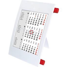 3-Monatskalender, mit 2-Jahres-Kalendarium, aus Polystyrol, international, weiß/rot