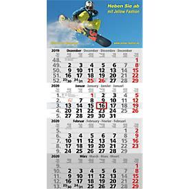 4-Monats-Kalender, 300 x 590 mm, 12 Blatt Monatszählung, 4-sprachig, Datumsschieber + Sonn-/Feiertage rot