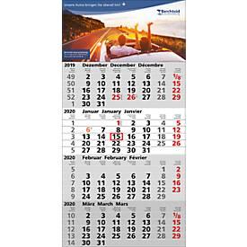 4-Monats-Wandkalender, B 300 x H 600 mm, 3-sprachig, mit Datumsschieber, rot/schwarz + Werbeaufdruck