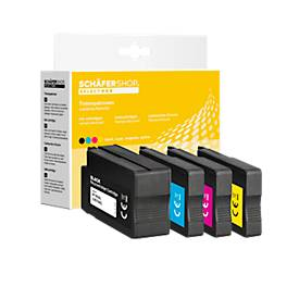 4 Schäfer Shop Tintenpatronen baugleich Multipack 953XL, schwarz/cyan/magenta/gelb
