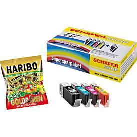 4 Schäfer Shop Tintenpatronen, baugl PGI-550XLPGBK/CLI-551C/M/Y +HARIBO Saft-Goldbären Minis GRATIS