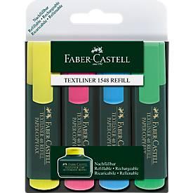 4er-Set Textmarker von FABER-CASTELL, gelb, blau, rosa, grün