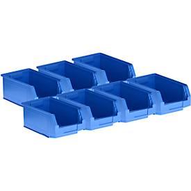 5 bacs à bec gerbables LF 321 + 2 GRATUITS, plastique, bleu, 7,5 litres