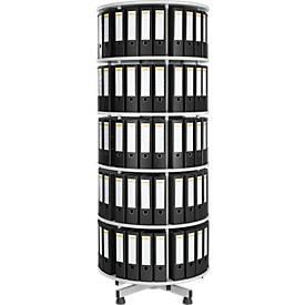 5 Etagen Ordner-Drehsäule + 40 DIN A4-Ordner, 80 mm schwarz GRATIS