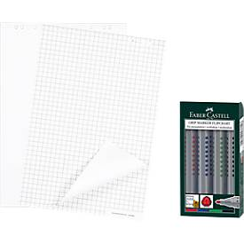 5 Flipchart-Block, 5 Stück + 4er-Set Flipchart-Marker