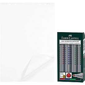 5 Flipchart-Block, blanko + 4er-Set Flipchart-Marker
