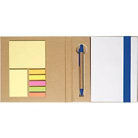 5-in-1 Notizbuch, mit Klebezetteln, Markerblöcken, Kugelschreiber, Blankopapier-Block