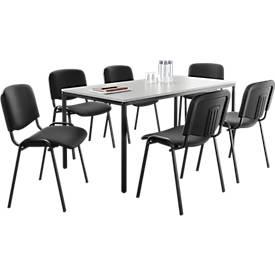 6 Besucherstühle ISO BASIC + 1 x Besprechungstisch, 1600 x 800 mm SET