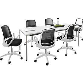 6 Konferenzstühle + Tisch, weiß SET