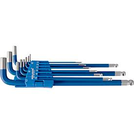 9-delige Projahn L-sleutel set, f. Binnenzeskant 1,5-10 mm, lang, S2 staalblauw, S2 staalblauw