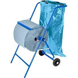 Aanbiediing: papierrolhouder op wielen +2rollen industriepapier +50vuilniszakeen van 120l