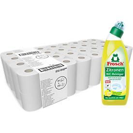 Aanbieding: WC papier 64 rollen + 1 liter Frosch WC-reiniger citroen GRATIS