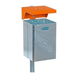 Abfallbehälter aus feuerverzinktem Stahlblech