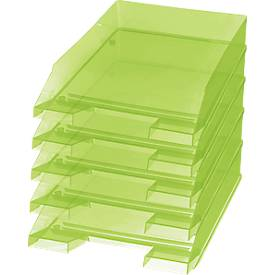 Image of Ablagekorb Economy, DIN C4, 5 Stück, grüntransparent