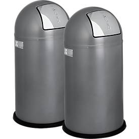 Afvalverzamelaar WESCO Pushboy, zilvergrijs, set van 2 stuks, met een set van 2 stuks