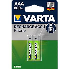 Image of Akkus VARTA PHONE T 398 Micro AAA, f. Analoge/digitale Telefone, 2 Stück